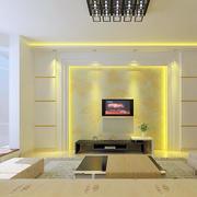 黄色硅藻泥影视墙设计