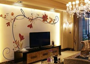 客厅硅藻泥背景墙装修效果图