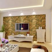 美式浓墨式印花背景墙设计