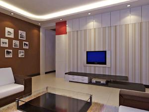 米色曲线形背景墙设计