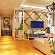 黄色假性镂空性电视墙设计