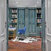 欧式湖蓝色书房书架设计效果