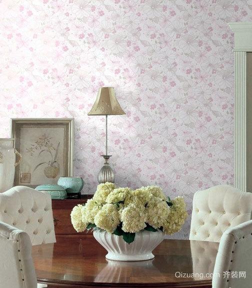现代舒适小户型装修碎花壁纸效果图