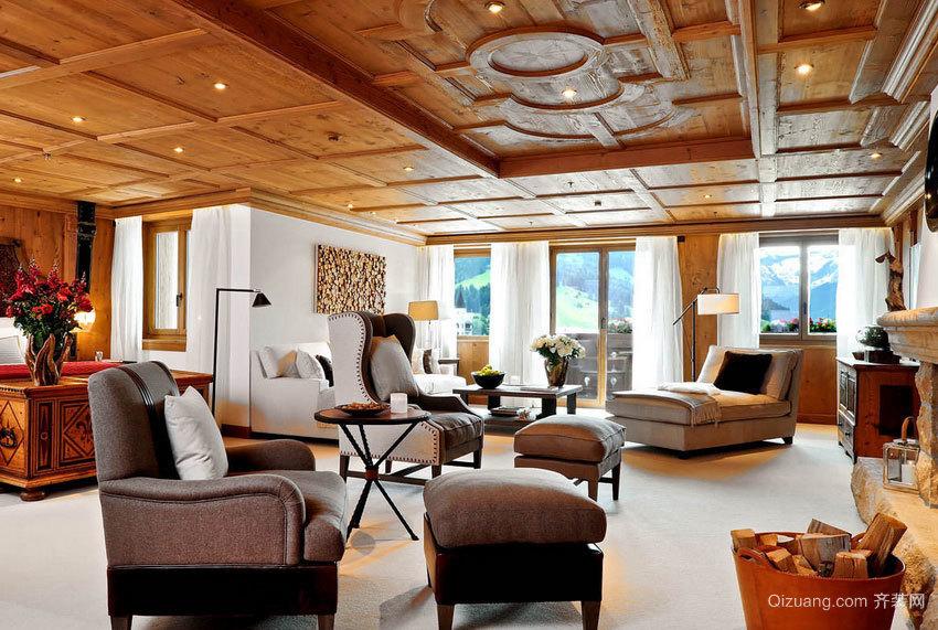 精美时尚的大户型生态木吊顶房屋设计图
