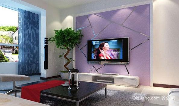 单身公寓环保型硅藻泥电视背景墙图片