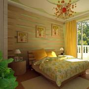 田园风格卧室落地窗设计