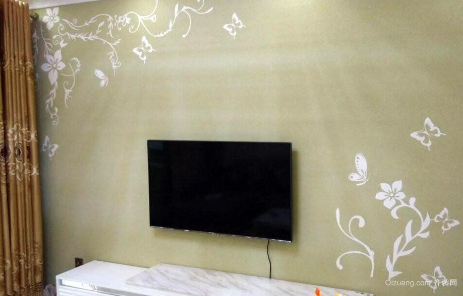 健康家居:三居室硅藻泥电视背景墙效果图