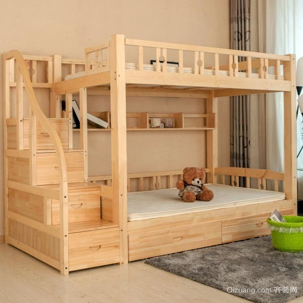 孩子们喜欢的彩色实木双层儿童床效果图