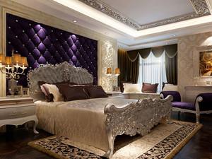 别墅专用奢华欧式卧室床头软包背景墙设计