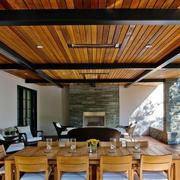 餐厅原木吊顶设计
