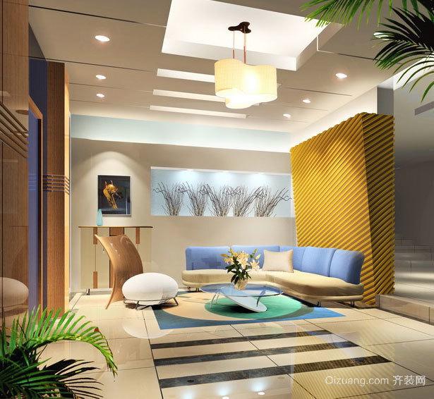 精致唯美的欧式大户型客厅吊顶设计效果图