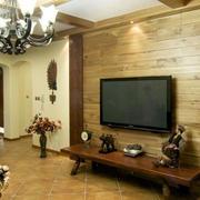 美式木制深色背景墙设计