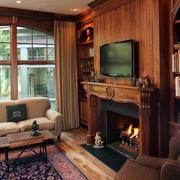 美式纯原木背景墙装修