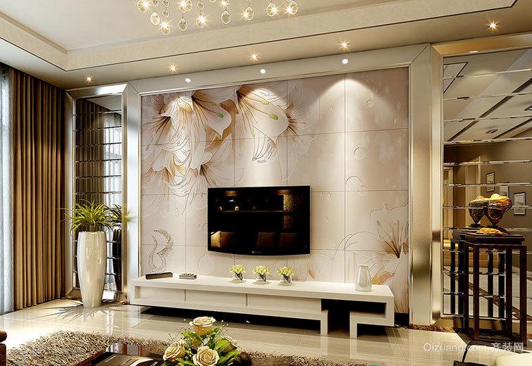 欧式小户型装修诺贝尔瓷砖背景墙效果图