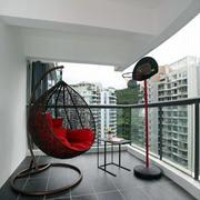 公寓小阳台深色藤椅设计