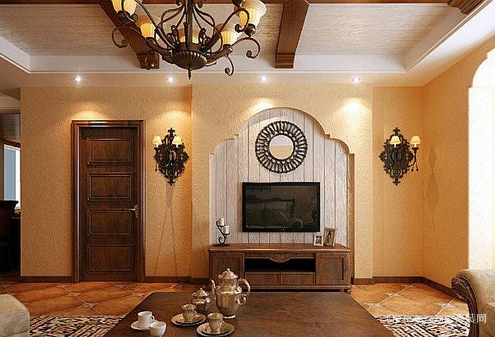 别墅美式朴素风格电视背景墙装修效果图