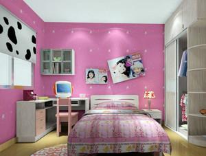 舒适精致大户型儿童房背景墙装修效果图