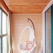 简约木制阳台藤椅设计