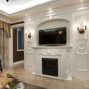美式白色简约风格电视背景墙