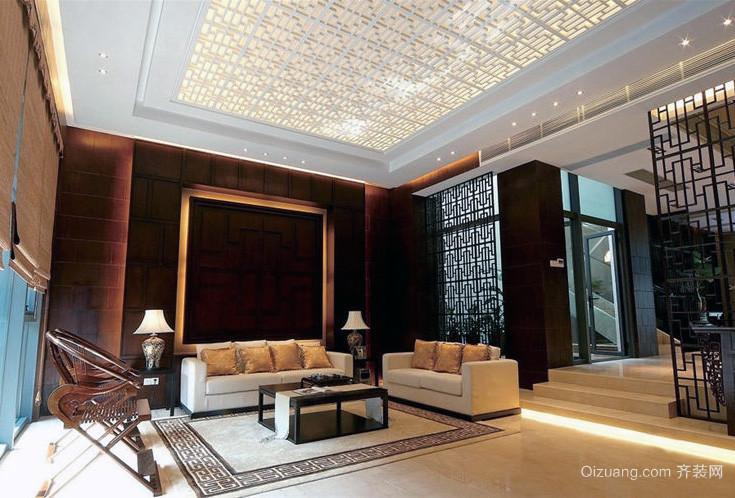 现代大户型中式装修客厅吊顶设计效果图