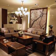 客厅水曲柳实木家具装修吊顶图
