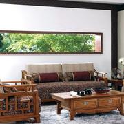 客厅水曲柳实木家具装修背景墙图