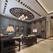 中式装修客厅吊顶设计桌椅图
