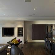 后现代风格客厅深色木地板装修