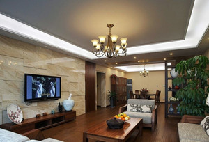 复式楼简约风格石材电视背景墙装修效果图