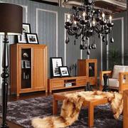 客厅水曲柳实木家具装修整体图