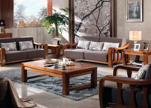 客厅水曲柳实木家具装修效果图