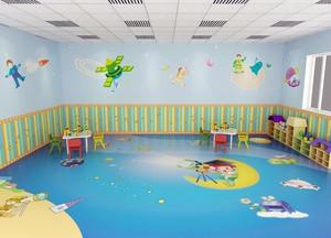 现代都市唯美幼儿园壁画设计效果图