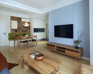 素雅日式原木色110平米三居室家庭装修图