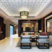 中式装修客厅吊顶设计灯光效果
