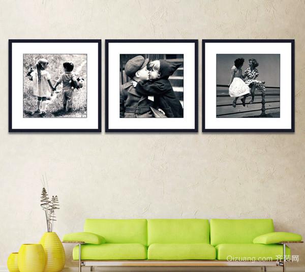 现代舒适大户型客厅黑白装饰画装修效果图