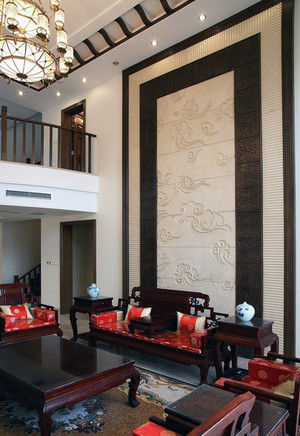 大户型中式客厅水曲柳实木家具装修效果图