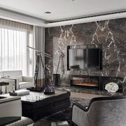 家装大客厅瓷砖电视背景墙