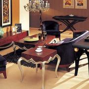 别墅简约风格原木深色别墅家具设计