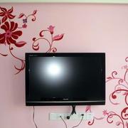 粉色调电视背景墙