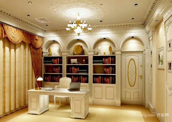 大型欧式别墅地下室幽静书房装修效果图