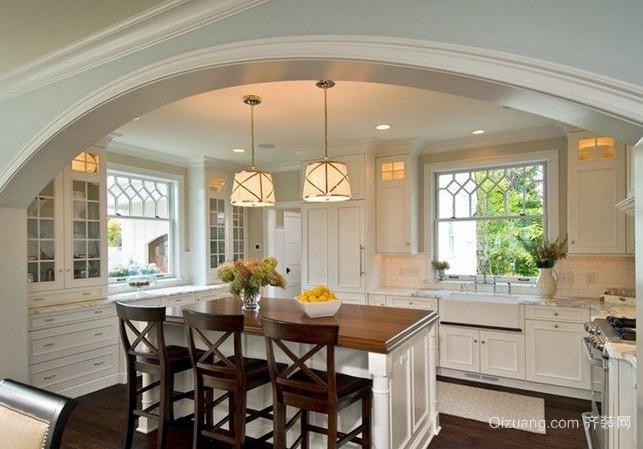 别墅欧式风格开放式厨房装修效果图