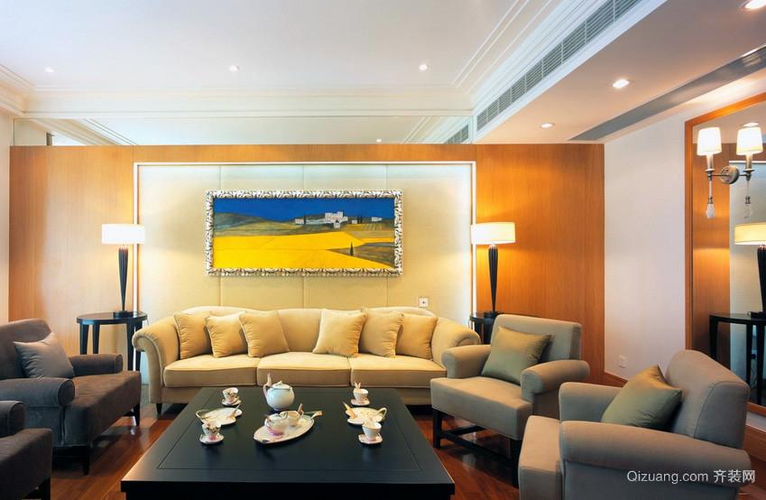 欧式大户型客厅卡座沙发背景墙装修效果图