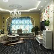 复式楼田园风格电视背景墙设计