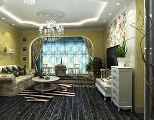 120平米田园风格客厅电视背景墙装修效果图
