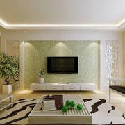 客厅电视背景绿色墙纸
