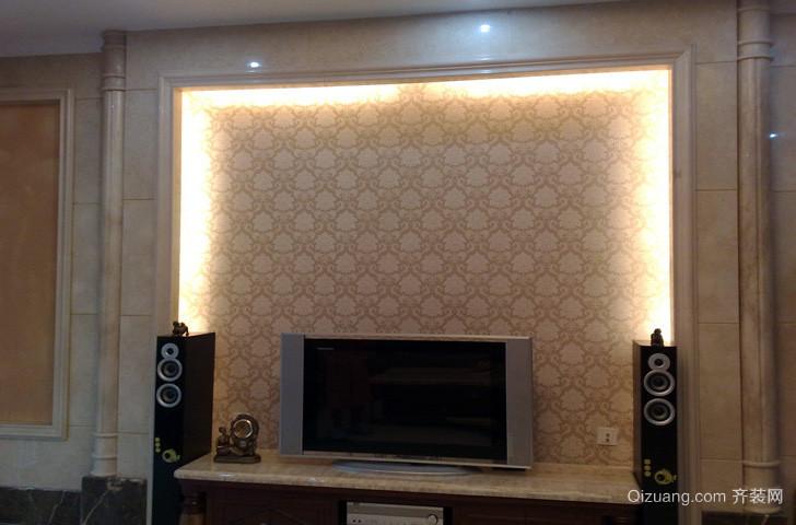 公寓田园风格硅藻泥电视背景墙图片