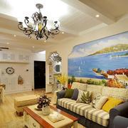 地中海沙发背景墙图片