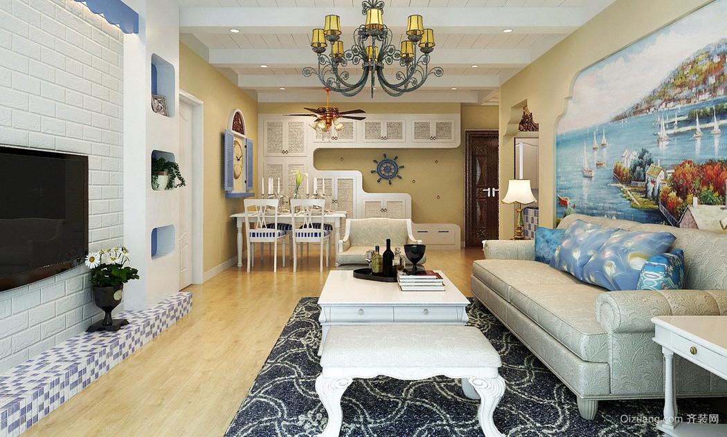 浪漫地中海风格100平米三房装修图片