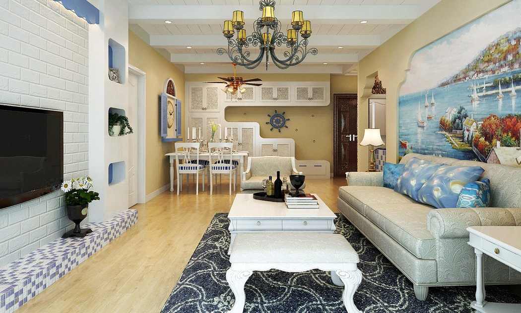 浪漫地中海风格100平米三房装修图片-齐装网装修效果图