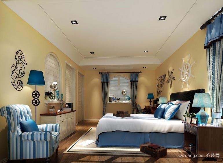 宜家舒适20平米地中海风格卧室装修图
